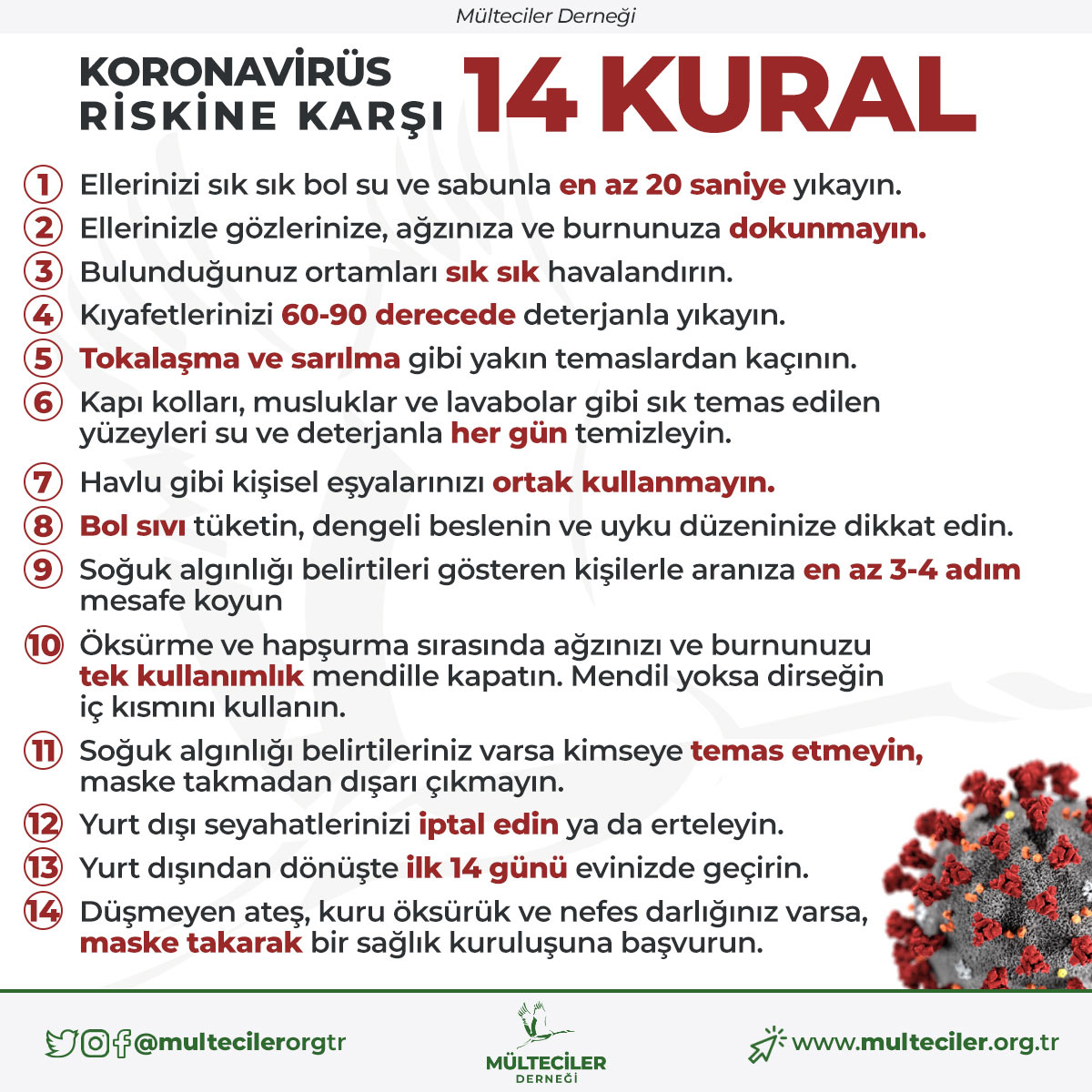 Koronavirüs Riskine Karşı 14 Kural Türkçe