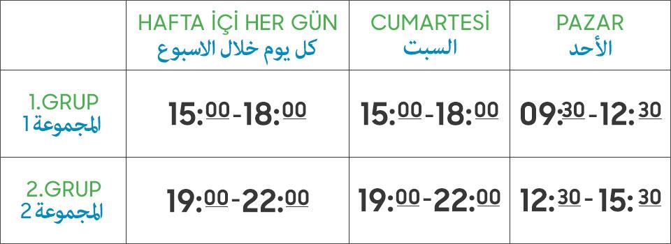 Türkçe Eğitim Merkezi Haftalık Ders Programı
