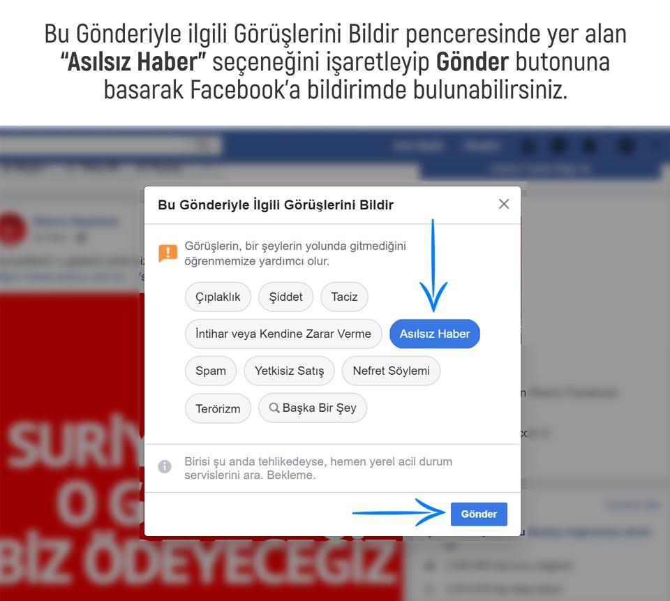 Facebook'ta Bir Gönderiyi Asılsız Haber Olarak İşaretleme